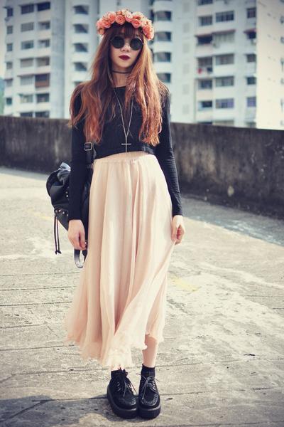 lookbookstore skirt - theeditorsmarket bag - Choies top - creepers flats