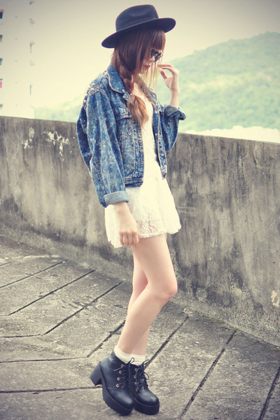 Oasapcom hat - leather boots - Sheinsidecom dress - denim jacket