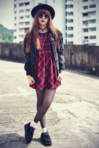 creepers shoes - PERSUNMALL dress - Forever 21 hat - denim jacket