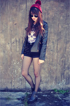 leather jacket jacket - leather boots - studded shorts - round sunglasses