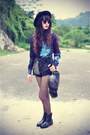 Leather-boots-forever21-hat-galaxy-oasap-shirt-denim-shorts