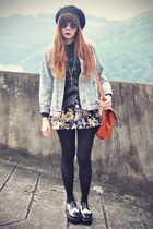 denim jacket poppy lover jacket - awwdore shirt - Udobuy bag - sunglasses