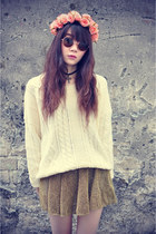 skirt - knit sweater - floral crown accessories