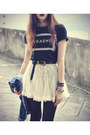 Lace-skirt-chicwish-skirt-leather-boots-osap-hat-denim-jacket
