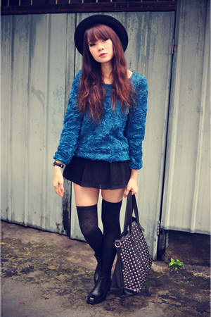 skirt - boots - 3d rose sweater