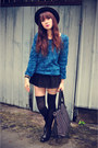 Boots-3d-rose-sweater-skirt