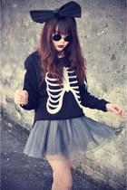 ballet skirt - boots - bone sweater - big bow accessories