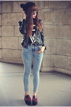 Topshop jeans - pu leather Sheinside jacket - round sunglasses