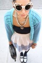 Target tights - Prada sunglasses - f21 skirt - American Apparel bra