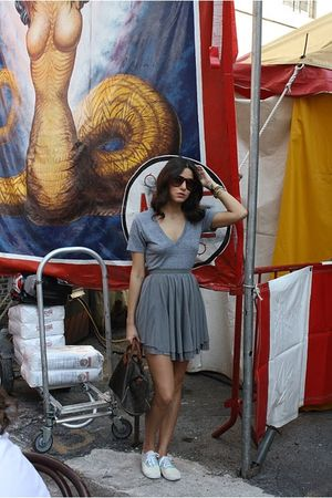 f21 dress - American Apparel t-shirt - ksabi glasses - Louis Vuitton bag - H&M s