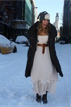 H&M dress - Elie Tahari coat - Street Vendor Donkey hat - Ralph Lauren boots - v