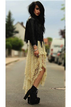 lace asymmetric OASAP dress - fringe leather H&M jacket