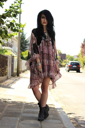 paisley print free people dress - cowboy studded Zara boots