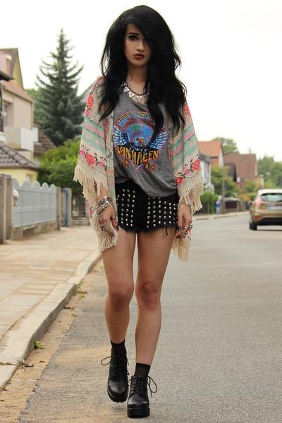 kimono Zara cardigan - River Island shorts - van halen Forever 21 top