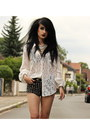 Studded-river-island-shorts-white-spell-designs-blouse