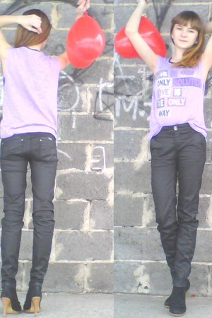 black Kayla Style boots - dark gray Stradivarius pants - light purple H&M blouse