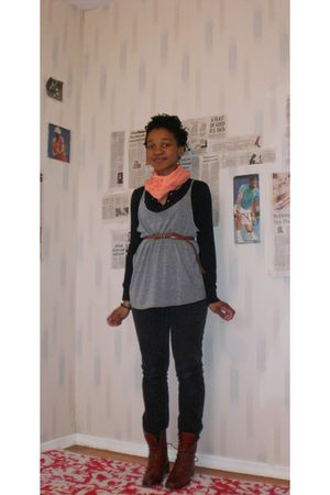 brown thrifted boots - black Old Navy jeans - gray American Apparel vest - pink