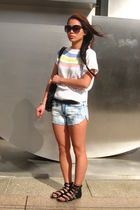 white Counterparts top - blue shorts - black f21