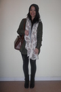 White-h-m-scarf-brown-vintage-purse-green-f21-jacket-gray-f21-sweater-wh