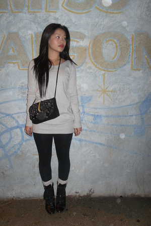 black lace-up Getme boots - black DIY purse - gray sweatshirt H&M