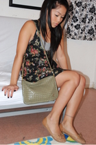 black DIY dress - green Carriage Court purse - brown UO shoes - gray H&M top - s