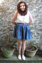 blue H&M skirt - white Primark shoes - brown Primark belt
