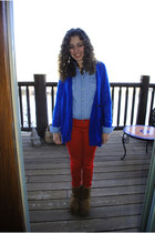 light brown Ugg boots - red American Eagle jeans - blue LF sweater