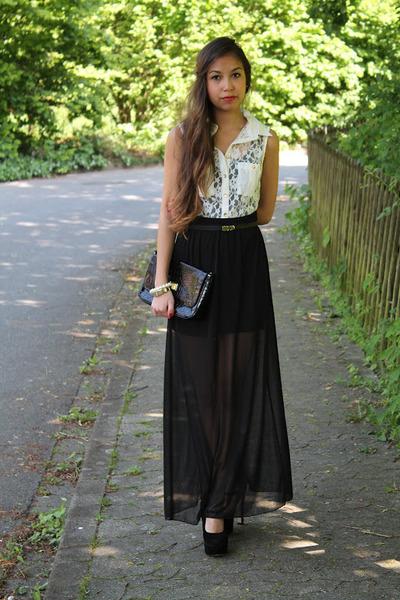 b6815f79fd black sheer skirt Primark skirt - white Primark blouse - gold vintage  bracelet