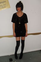 vintgae top - Topshop shorts - Topshop socks - Newlook boots