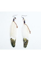 white feather glitter Beatniq Designs earrings