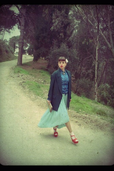 light blue Zara skirt - dark green Zara jacket - blue Stradivarius shirt
