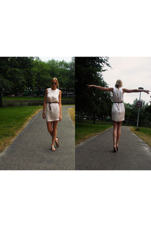 pink H&M dress - brown H&M belt - silver River Woods shoes - red the Netherlands