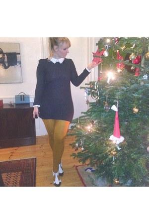 dark gray glitter Topshop dress - mustard stockings