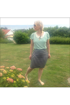 aquamarine blouse - black checkered Topshop skirt