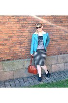sky blue Edith & Ella jacket - black brogues dune shoes