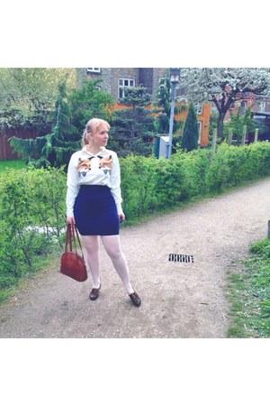 navy pencil skirt La Debutante skirt - white foxy FoundLoved shirt