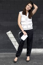 silver Rochas bag - black RED valentino heels - black cedric charlier pants