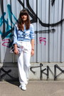 White-jonak-shoes-white-zara-coat-violet-flower-h-m-purse