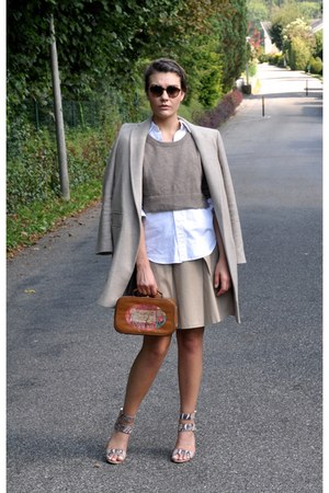 brown vintage bag - tan sam edelman shoes - white Ralph Lauren shirt