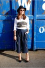 Navy-the-kooples-hat-white-hackett-shirt-navy-culottes-topshop-pants