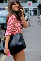 red Zara shirt - navy Louis Vuitton bag - red Paul&Joe sister shorts