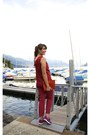 Carrot-orange-coccinelle-bag-red-spektre-sunglasses-ruby-red-max-mara-top