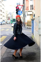asos skirt - Nordbron hat - leather biker Zara jacket - maison scotch sweater