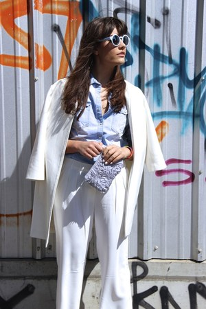 white Jonak shoes - white Zara coat - violet flower H&M purse