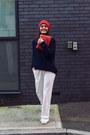 Carrot-orange-beanie-nordbron-hat-navy-sandro-sweater