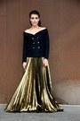 Navy-faith-connexion-blazer-gold-faith-connexion-skirt