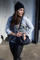 Claudie Pierlot hat - navy speedy Louis Vuitton bag - faux leather Zara pants