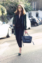 black Celine bag - dark green Zara coat - black asos suit