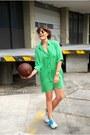 Green-shirdress-loose-zara-dress-heather-gray-ps11-proenza-schouler-bag