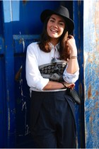 white Hackett shirt - navy The Kooples hat - navy culottes Topshop pants